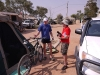 Pre Race - Ken Glasco explains the superior attributes of his bike to Dave Wheeler(video man)
