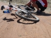 Day 5 Morning Stage - Jorn Jacobsen picks up a puncture