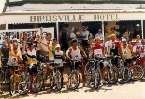 Happy riders at the Birdsville Pub