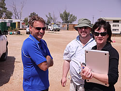 Mark (left) is briefed by Ian and Kate on the new course
